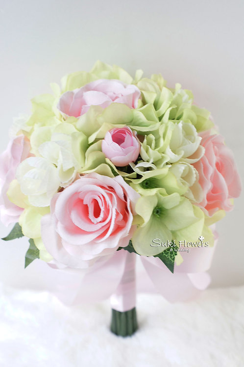 粉紅玫瑰繡球絲花花球