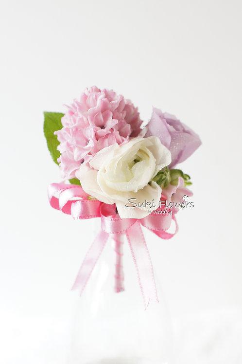 粉色風信子玫瑰洋牡丹鮮花襟花