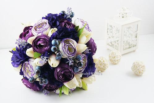 紫桔梗小牡丹鬱金香藍莓薰衣草絲花花球