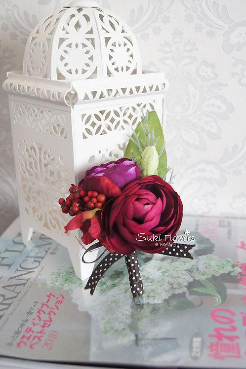 紅紫小牡丹襟花