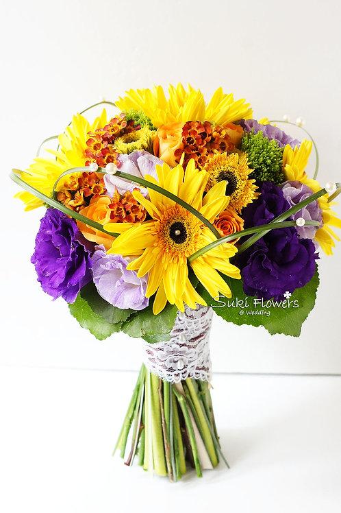 黃色太陽菊玫瑰桔梗臘梅鮮花花球