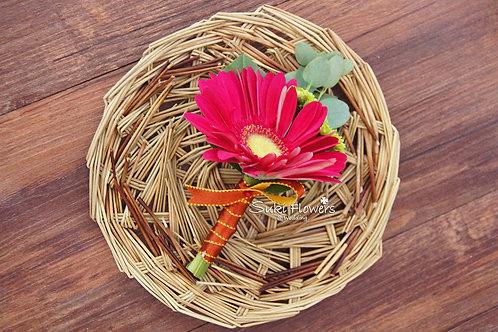 桃紅太陽花鮮花襟花