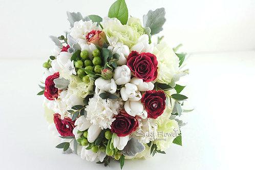 白色鬱金香風信子桔梗小玫瑰鮮花花球