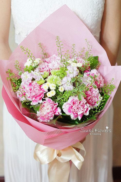 母親節康乃馨麝香襯花鮮花花束