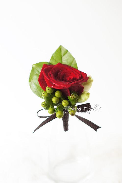 紅玫瑰綠豆鮮花襟花