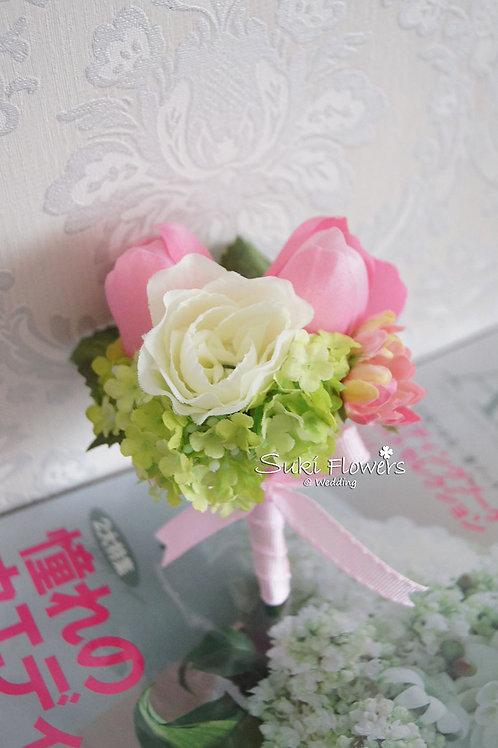 粉紅鬱金香海棠雪球襟花