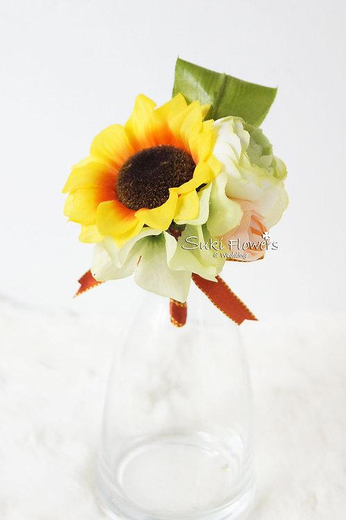 向日葵小牡丹襟花