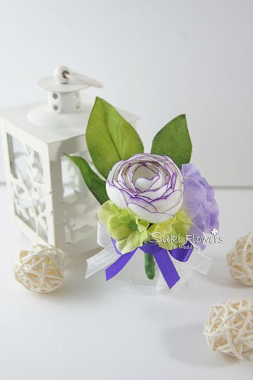 白色紫花邊小牡丹襟花