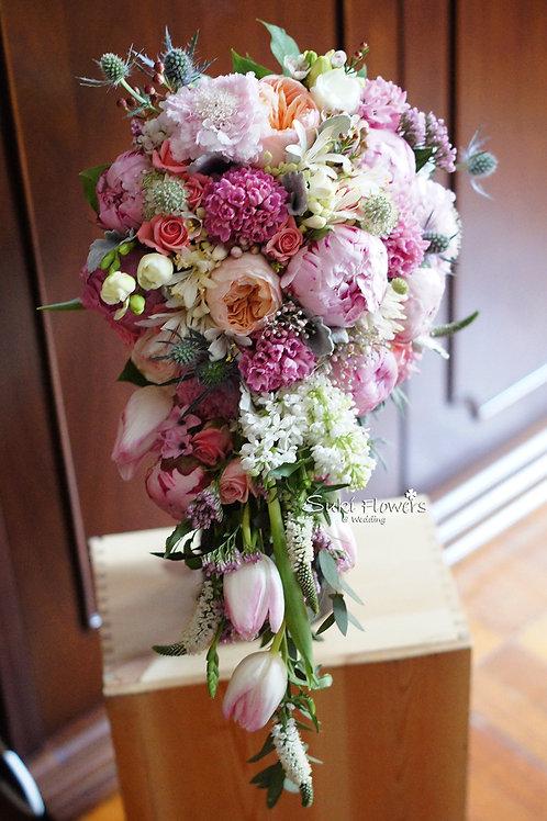 大牡丹庭園玫瑰風信子拖尾鮮花花球