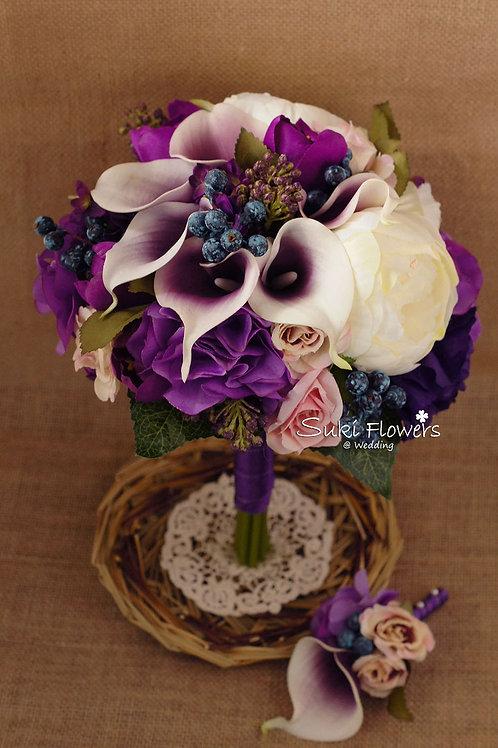 紫白馬碲蘭大牡丹丁香繡球鬱金香藍果子仿真絲花花球