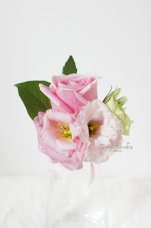 粉紅玫瑰桔梗鮮花襟花