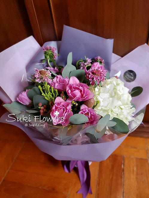 鬱金香繡球鮮花花束