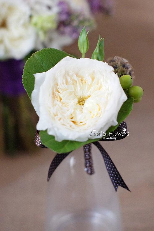 白色庭園玫瑰松蟲草果鮮花襟花