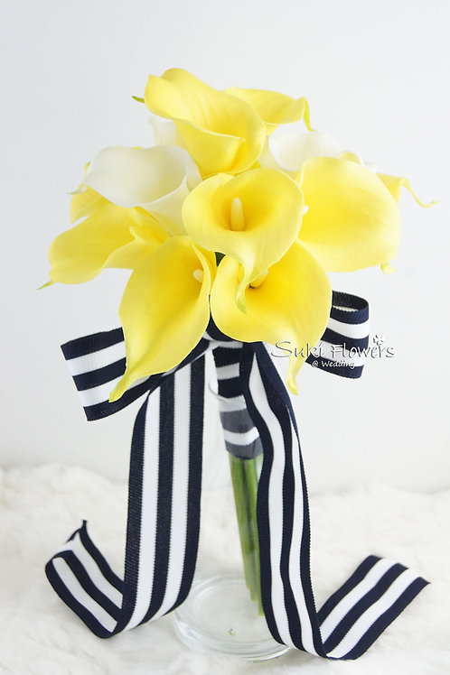 黃色白色馬蹄蘭仿真小花球