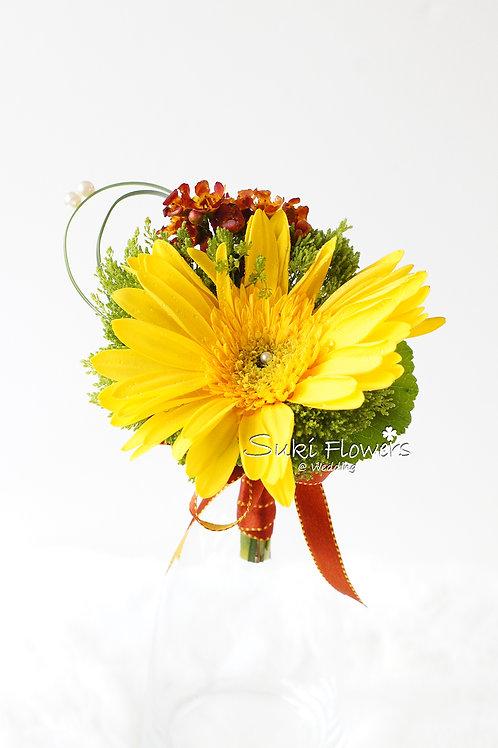黃色太陽花臘梅鮮花襟花