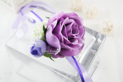 紫玫瑰雪球手花