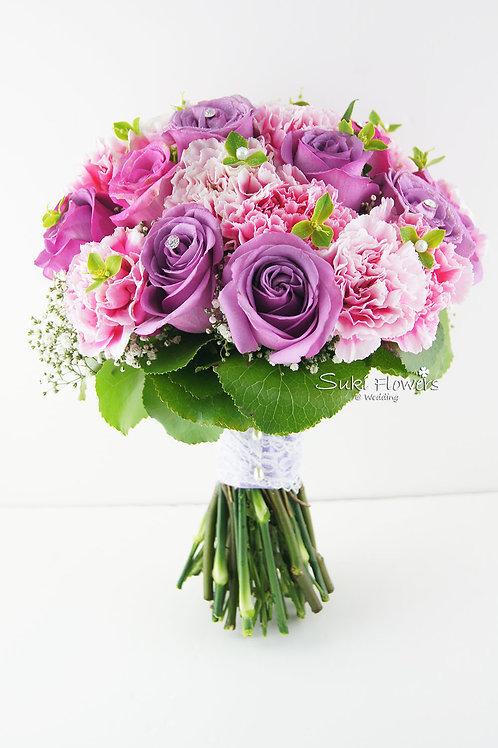 紫玫瑰滿天星康乃馨鮮花花球