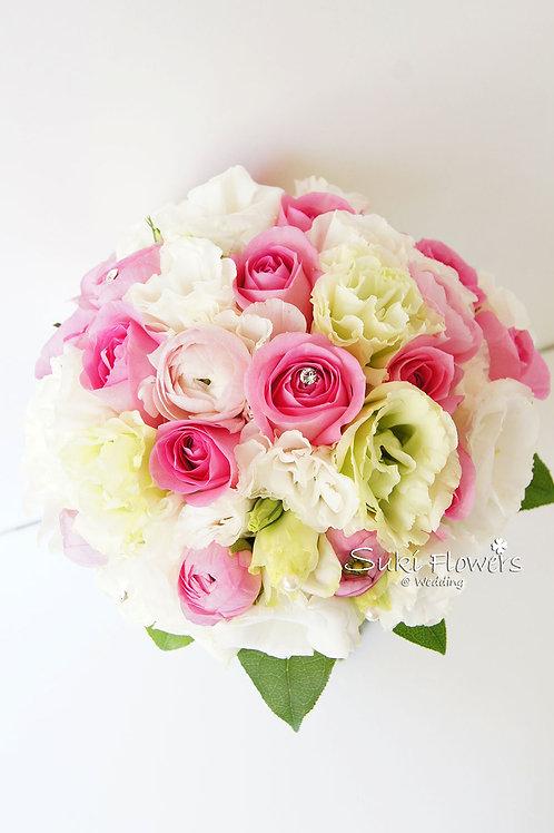 粉紅玫瑰洋牡丹桔梗鮮花花球