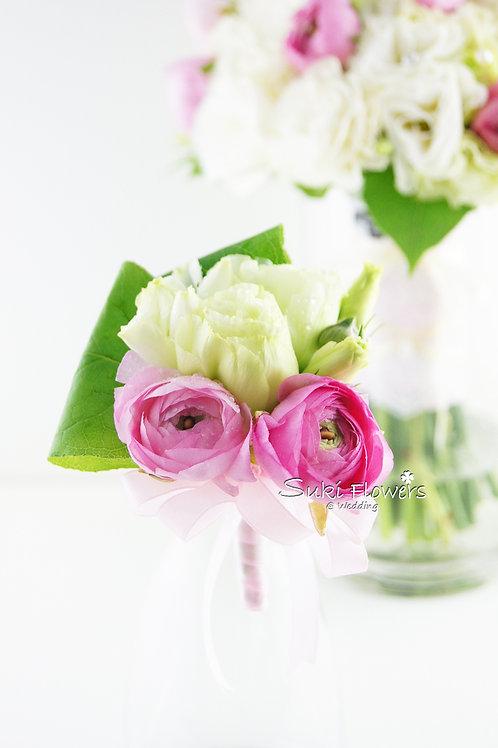 粉紅洋牡丹桔梗鮮花襟花