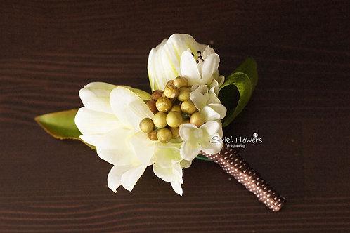 白色鬱金香鉸剪蘭豆豆襟花