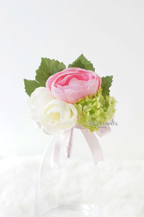 粉紅小牡丹雪球襟花