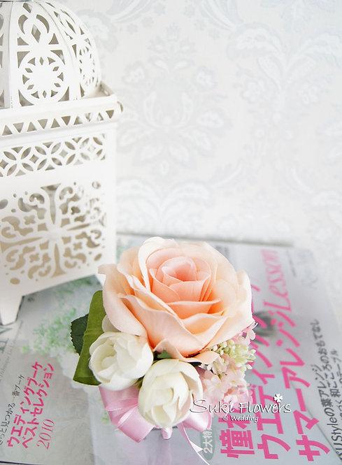 香檳玫瑰雪球襟花