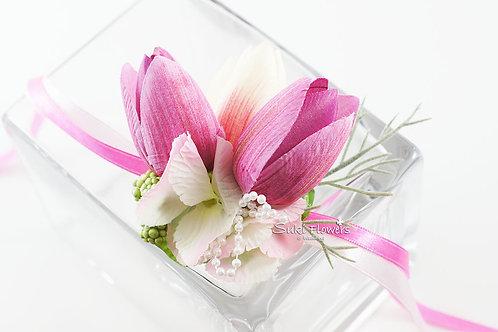 粉紅粉白鬱金香繡球手花