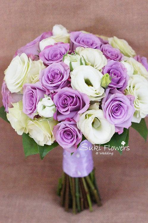 紫玫瑰洋牡丹桔梗鮮花花球