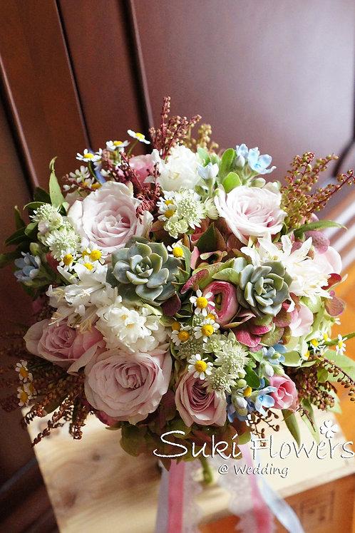玫瑰藍星花繡球肉肉植物小波菊鮮花花球