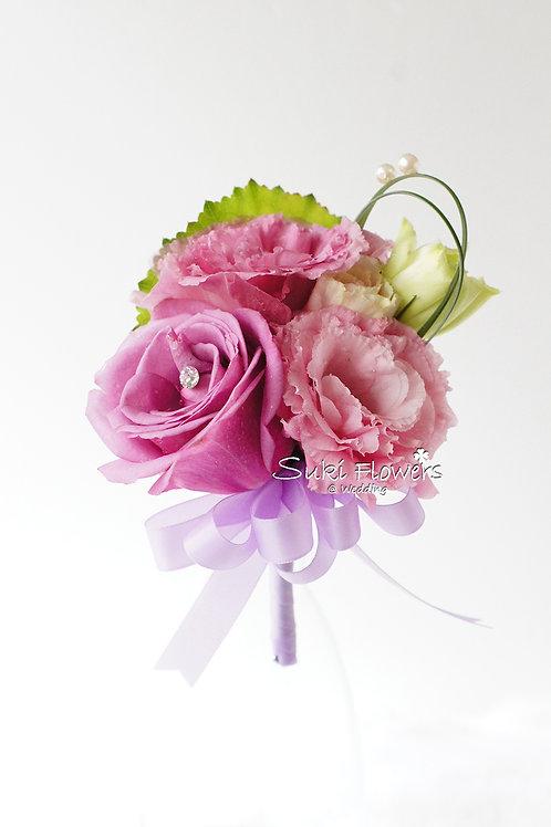 紫玫瑰桔梗鮮花襟花