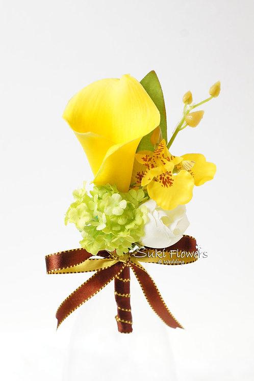 黃色馬蹄蘭小牡丹雪球襟花