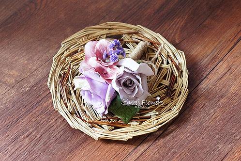 復古紫玫瑰繡球襟花