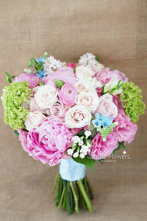 大牡丹玉繡球十字花藍星花小玫瑰鮮花花球