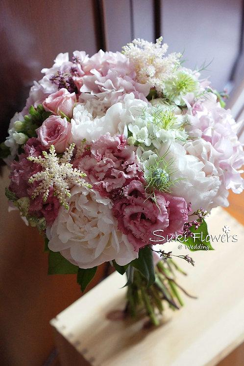 日本淺粉大牡丹桔梗白星花鮮花花球