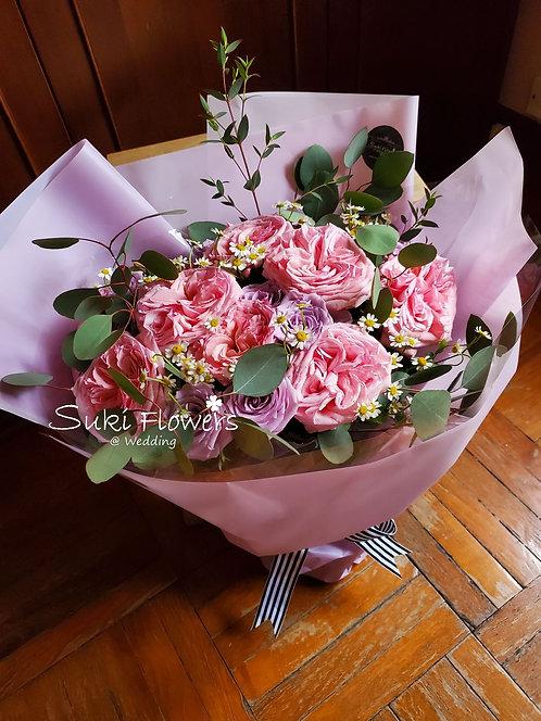 田園玫瑰鮮花花束