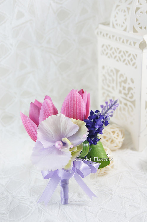 粉紅鬱金香薰衣草繡球襟花