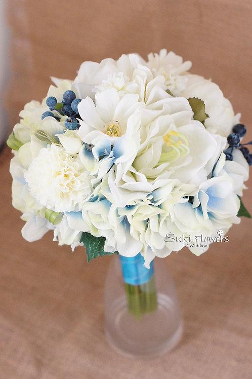 朱頂蘭波斯菊繡球藍果子仿真絲花花球