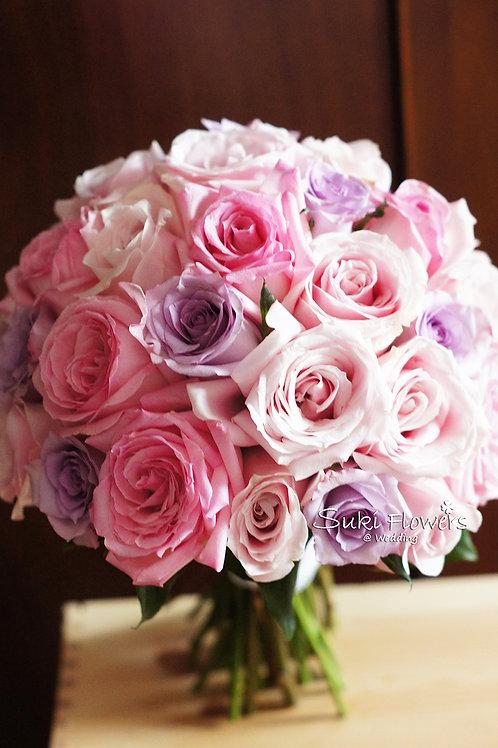 紫粉玫瑰鮮花花球
