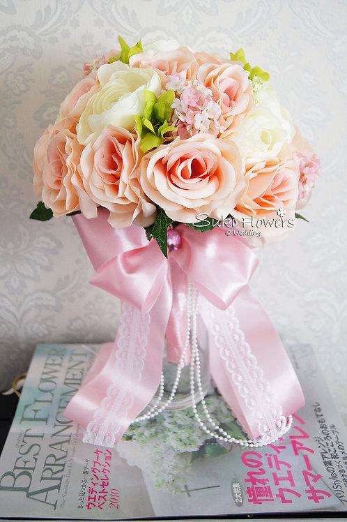 香檳玫瑰雪球小牡丹絲花花球