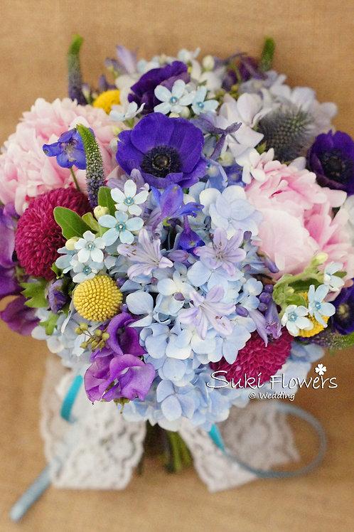夢羅麗莎大牡丹藍星花香豌豆繡球鮮花花球
