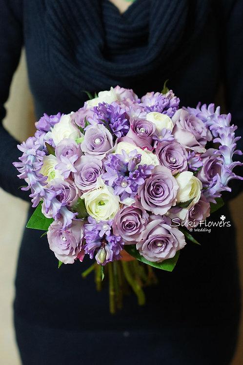 淺紫風信子玫瑰洋牡丹鮮花花球