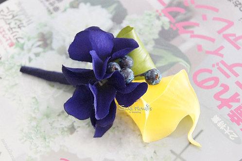 黃色馬蹄蘭繡球果子襟花