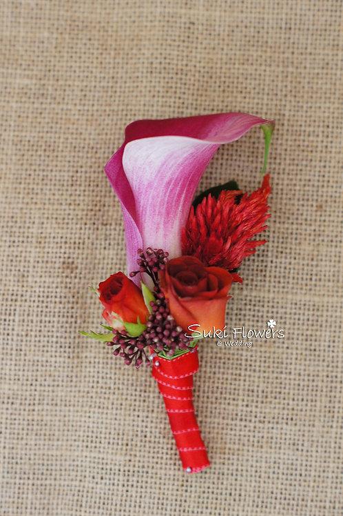 馬蹄蘭小玫瑰鳳尾鮮花襟花