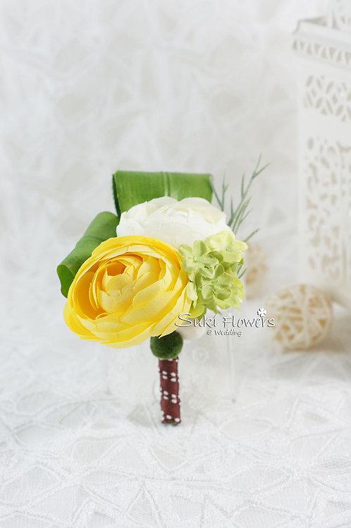 白色黃色小牡丹襟花
