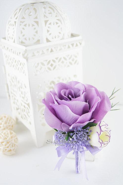 淺紫玫瑰小牡丹芹菜花襟花