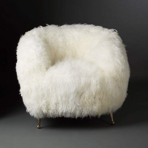 Club Chair Tibet Lammfell, white