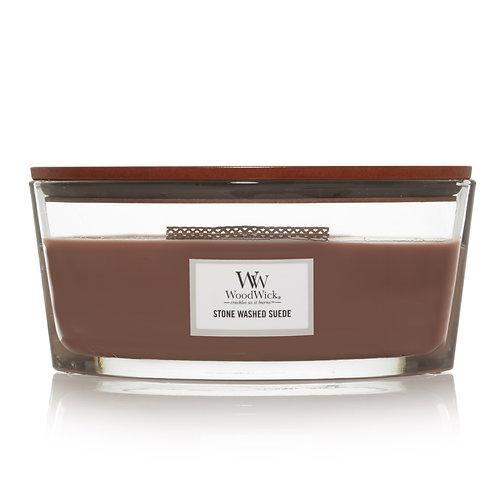 WoodWick® Stone Washed Sued Kerzenglas mit Knisterdocht