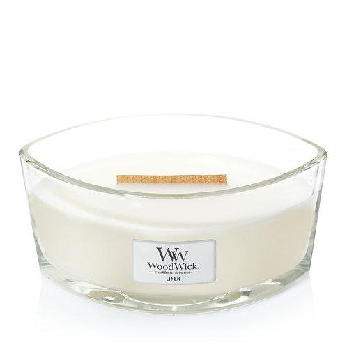 WoodWick® Linen Kerzenglas mit Knisterdocht