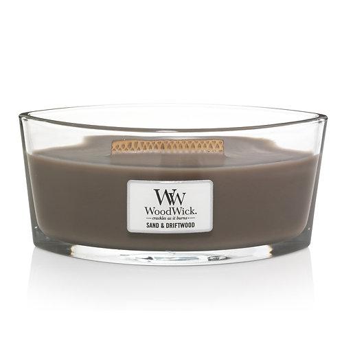 WoodWick® Sand & Driftwood Kerzenglas mit Knisterdocht