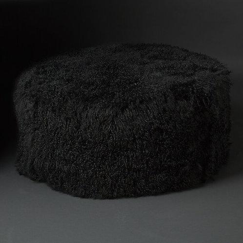 Club Pouf Tibet Lammfell, black